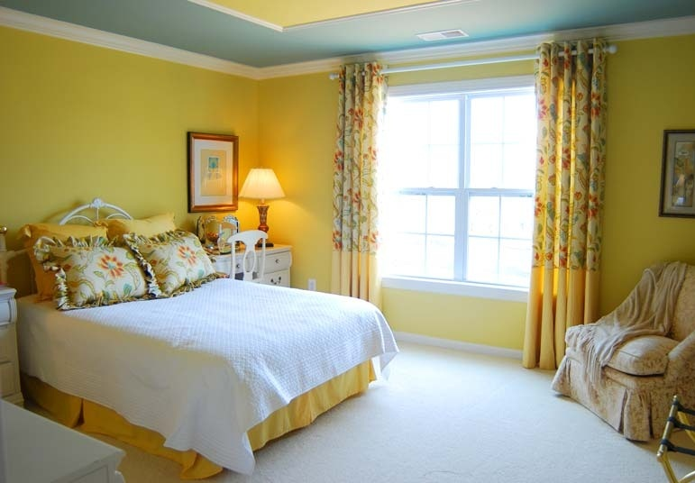 Chic bedroom with yellow color bring with vibrant and cheerful