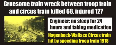 Hagenbeck-Wallace Circus Train wreck 1918 Impaired Engineer
