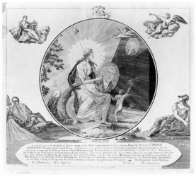Goddess of Liberty with painting of Thomas Jefferson