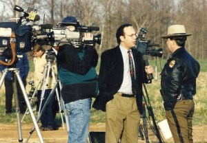 Dave Statter interviews Maryland State Police spokesman Richard Barilone for WUSA 9 News at a shooting scene in St. Mary's County, Md.