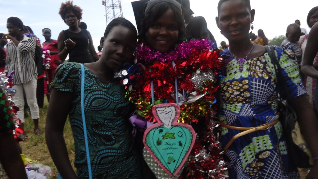 Jackline Juru with her schoolmates at her graduation from Health Science Training Institute Juba, in September, 2017