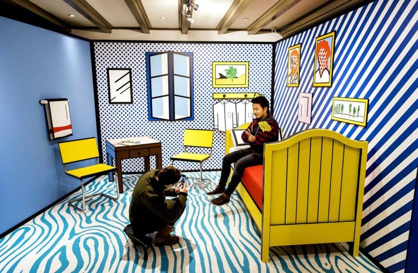 Vista de la instalación 'El Dormitorio'. Roy Lichtenstein. Moco Museum. 2017.