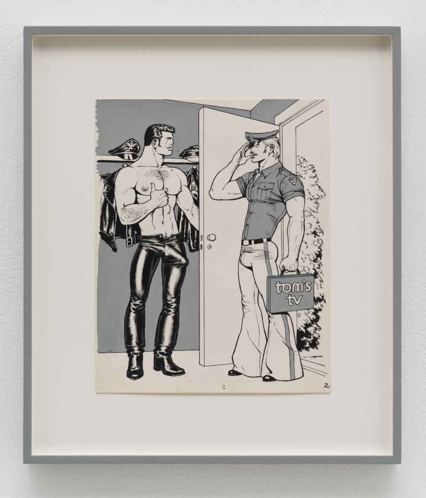 Tom-of-Finland,-T.V.---Repair,-1972,-pen,-ink,-gouache-and-cut-and-pasted-photo-on-paper,-21-parts,-photo-Brian-Forrest,-courtesy-David-Kordansky-Gallery,-Los-Angeles