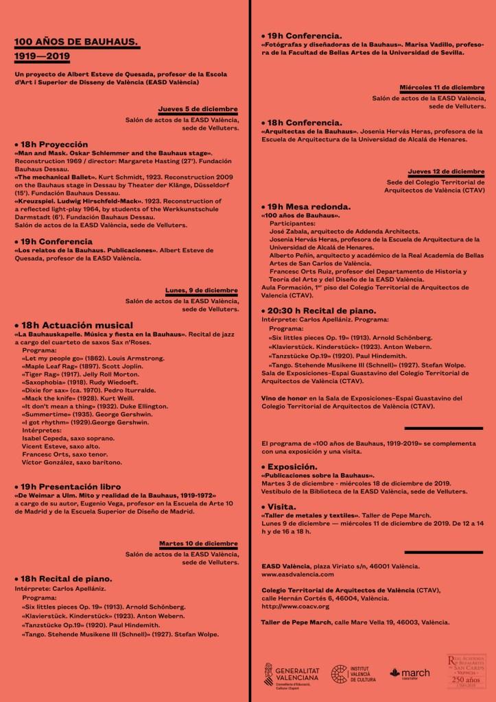 Programa de actividades del proyecto Bauhaus 1919 – 2019 - EASD Valencia & CTAV