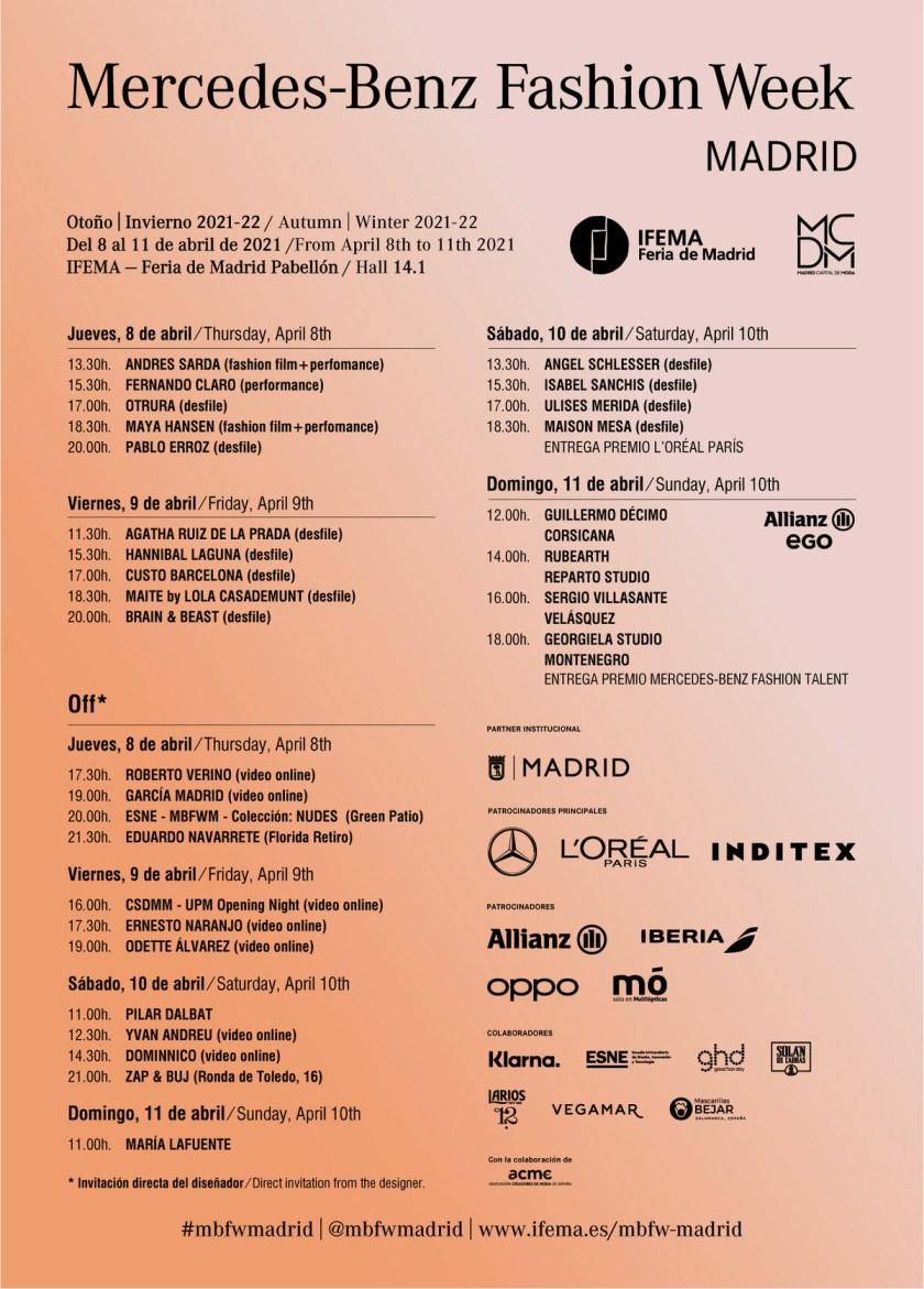 Un total de 34 diseñadores -22 presentarán en IFEMA y 12 lo harán fuera de IFEMA en algún escenario de Madrid o en formato online- presentarán sus colecciones Otoño/Invierno 21/22 combinando distintas modalidades en su puesta en escena