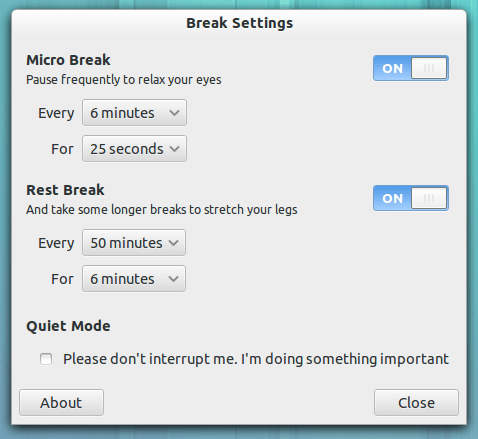 Brain Break's settings tool