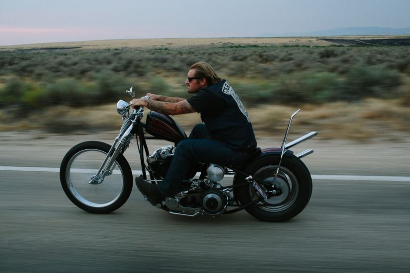 harley chopper rolling shot photo