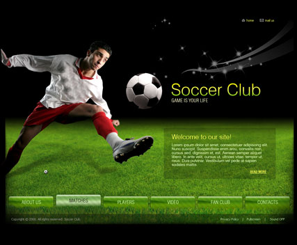 Soccer club Flash Video Gallery Template