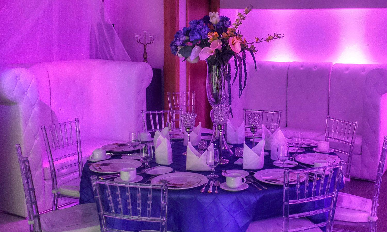 Wedding decor party rentals dynamic sounds djs for Wedding reception decoration hire