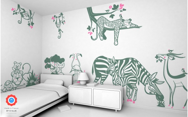 Girl Tractor Wallpaper Jungle Wall Stickers Savanna Wall Decor For Nursery Or