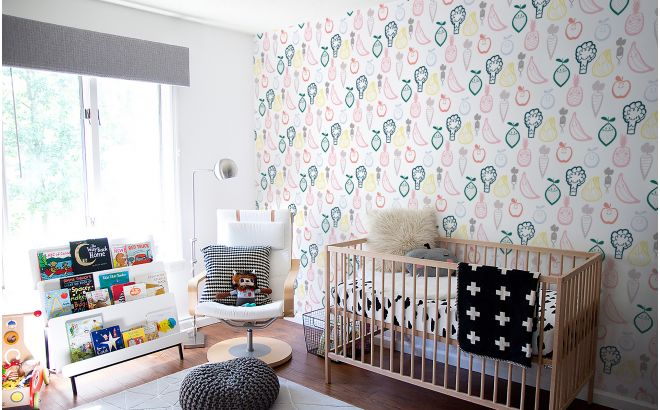 Toddler Girl Bedroom Wallpaper Fruit And Veggie Nursery Wallpaper Baby Room Wall Murals