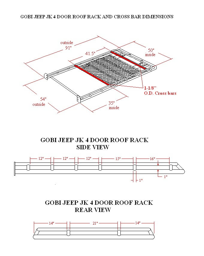 Gobi Jeep JK Recon 4 Door roof rack dimensionsjpg (681×854) Bug - army height and weight chart