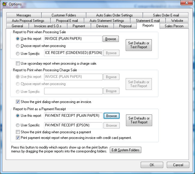 Printing a Sales Invoice or Payment Receipt