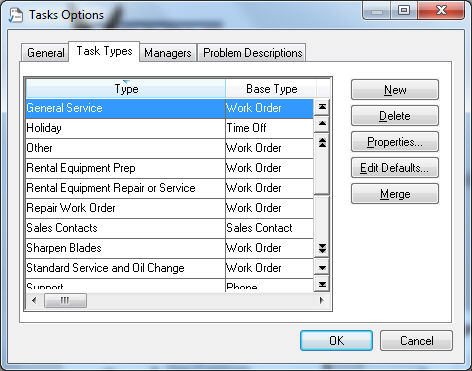 Creating Task Types and Defaults