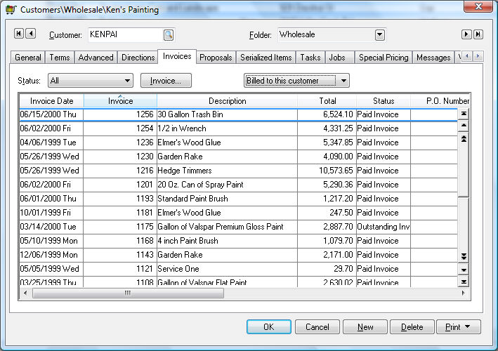 Viewing a Sales Invoice - sales invoices