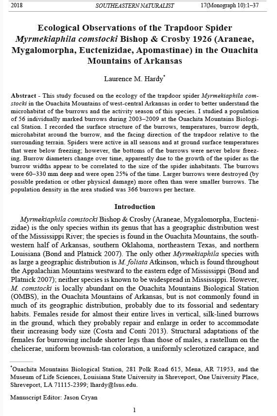 Southeastern Naturalist, Volume 17, Monograph Number 10 (2018) 1\u201337
