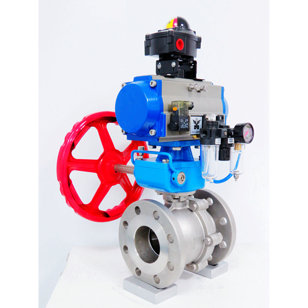Rotary-automatic-pneumatic-actuator-limit-switch-box-hand-wheel-stainless-steel-ball-valve-Namur-solenoid-valve-filter-1
