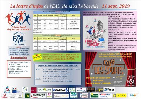 La Lettre d'infos EAL Handball Abbeville _11 sept 2019