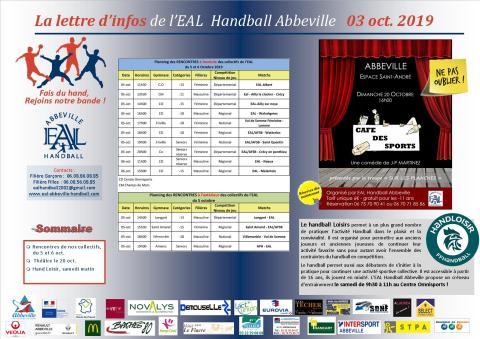 La Lettre d'infos EAL Handball Abbeville _02oct 2019