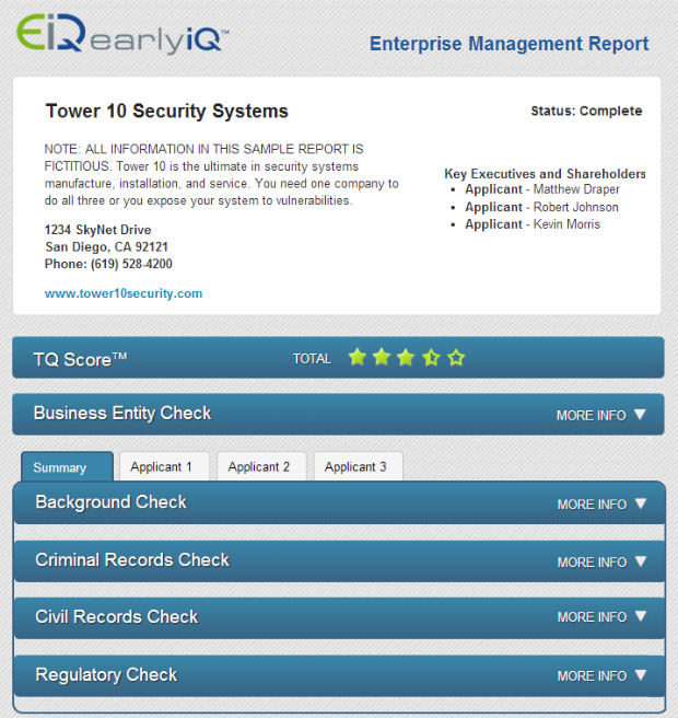 Diligence and Compliance Report - Bad Actor Check EarlyIQ