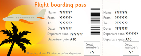 Editable Airline Tickets, EYFS, KS1 role play Free Early Years - play ticket template