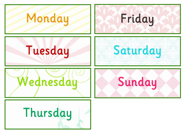 Days Of The Week Labels Free Early Years Primary