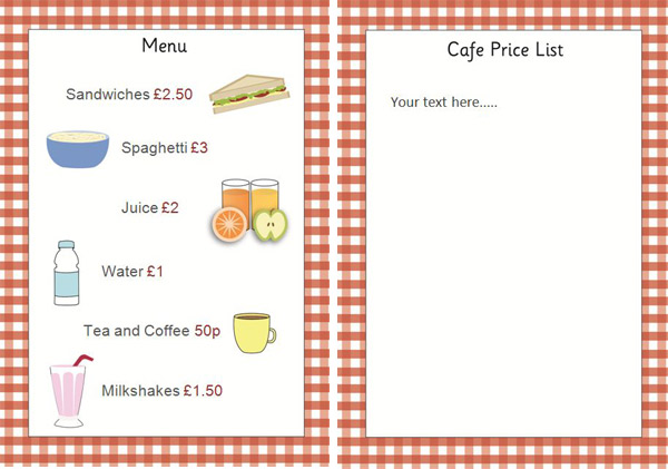 free printable menu templates for kids - Ozilalmanoof