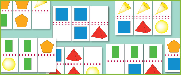 2D  3D Shape Domino Cards (Shapes Games) Free Early Years