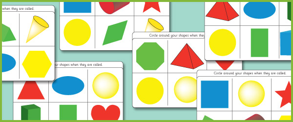2D  3D Shape Bingo (Shapes Games) Free Early Years  Primary