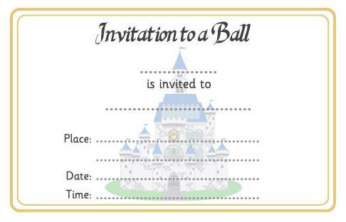 Cinderella Ball Invitation Free Early Years  Primary Teaching - Ball Ticket Template