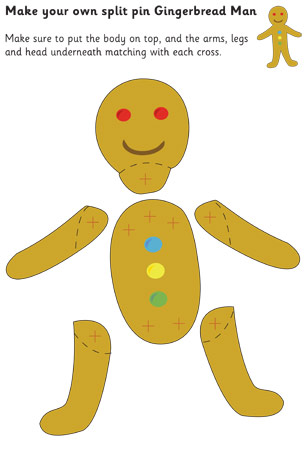 Gingerbread Man Split-Pin Character Free Early Years \ Primary - gingerbread man template