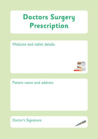 Prescription Form \u2013 Doctor\u0027s Surgery Role Play Free Early Years