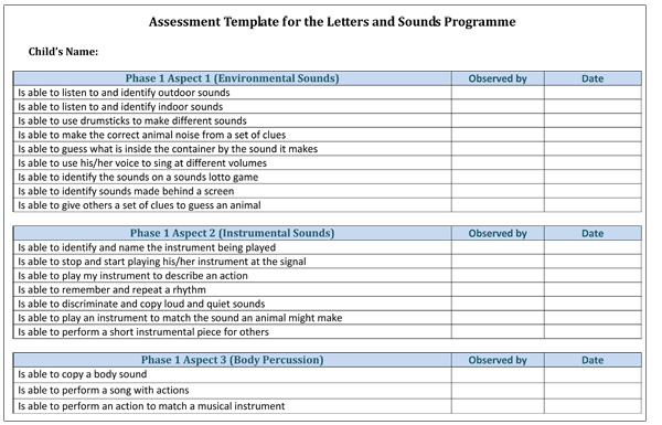 Assessment Template for the Letters and Sounds Programme Free