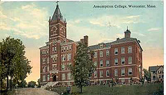 postcard of red brick college building