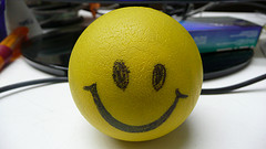 smiley rubber ball