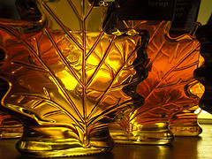maple syrup bottle in shape of maple leaf