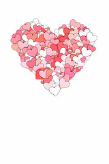 heart made of smaller pink, white, and red hearts