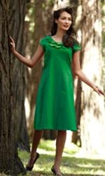 woman in green sundress