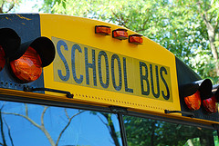 close up picture of front top of yellow school bus