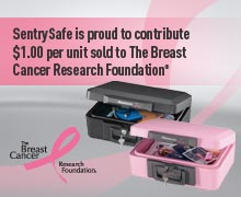 advertisement for Sentry Safe saying that proceeds go to the Breast Cancer Foundation