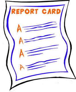 cartoon report card with all A's