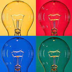 four light bulbs on colored backgrounds