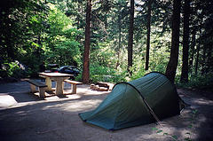 campsite with tent and picnic table in woods
