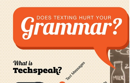 logo for infographic: does texting hurt grammar?