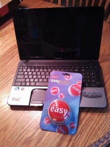 Toshiba laptop and Staples easy button