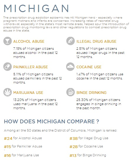 addiction statistics for Michigan from Rehab Hotline