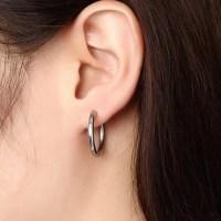 Stainless Steel Black Round Hoop Men Earrings   Earrings ...