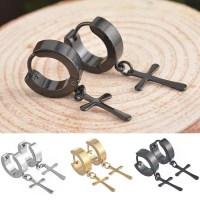 Stainless Steel Stud Cross Men Earring   Earrings for Men