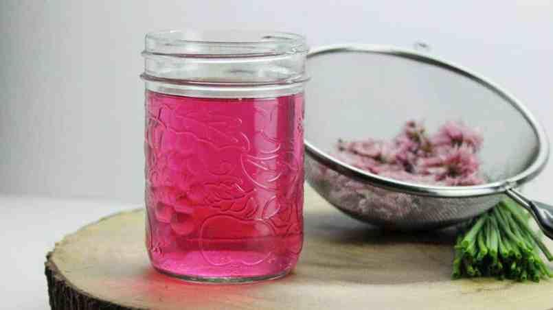 home made chive blossom vinegar