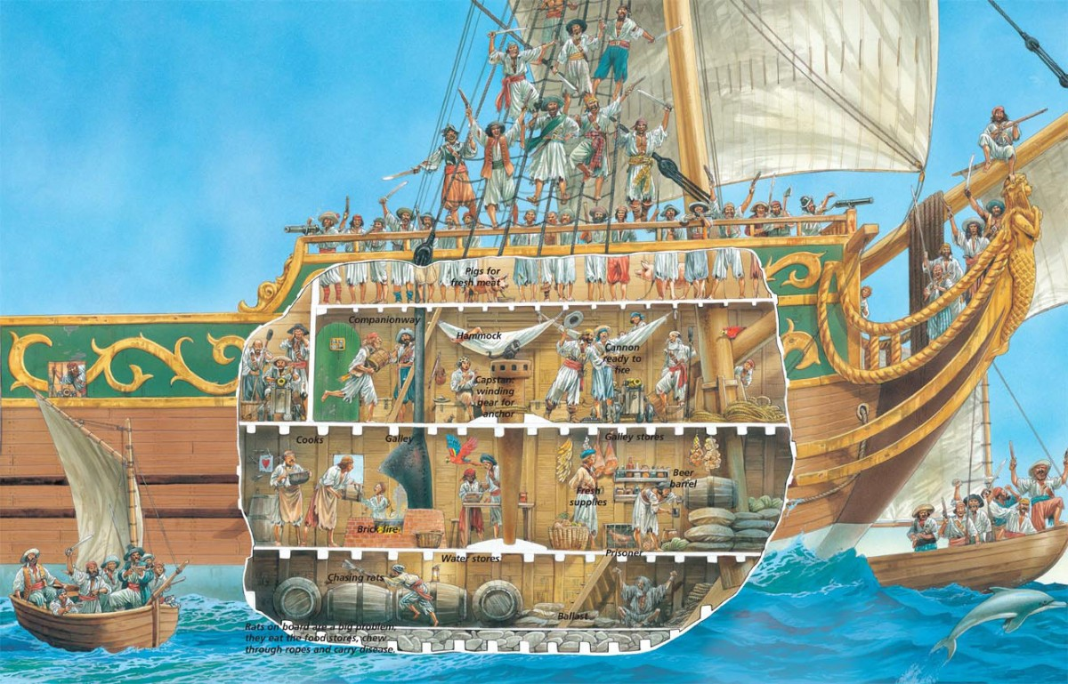 3d Stone Style Wallpaper A Cross Section Of Life Aboard A Pirate Ship Earthly Mission